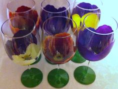 PANSY WINE GLASS Set of 6 – www.thepaintedflower