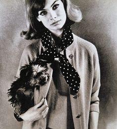 Jean Shrimpton con Bertie, Vernier 1963