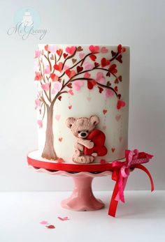 A Valentine's Day Cake Tutorial - McGreevy Cakes - cakemaking Gorgeous Cakes, Pretty Cakes, Cute Cakes, Cookies Cupcake, Decoration Patisserie, Bolo Cake, Cake Fondant, Valentines Day Cakes, Valentine Recipes