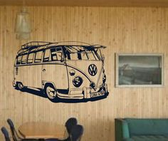 "Old School VW Bus Detailed Driving Mural - surf and vintage inspired -vinyl wall art decals sticker by 3rdaveshore - $70.00  38"" wide x 24"" tall"