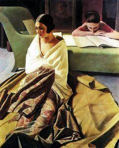 Painting by Felice Casorati (1883-1963), 1925, Raja. iL