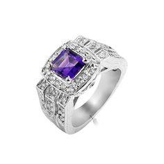 1 Carat Amethyst Gemstone Engagement Ring on Silver