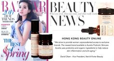 """Thank you to Hong Kong's Harpers Bazaar magazine for featuring our skincare products. David Olsen the vice president of Net-A-Porter Beauty said """"We strive to provide women unprecedented access to exclusive brands. The newest brand available is Aurelia Probiotic Skincare. Aurelia uses probiotics and organic ingredients to help reduce skin inflammation and anti-aging."""""""