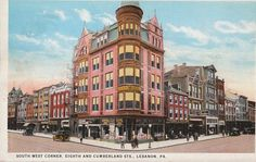 Vintage Lebanon, PA Postcard of the Samler Building at Eighth and Cumberland Streets.