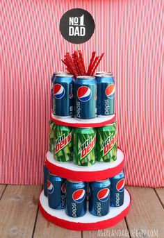 DIY Father's Day Gift Ideas   Make a Father's Day cake for dad from can of his favorite soda!