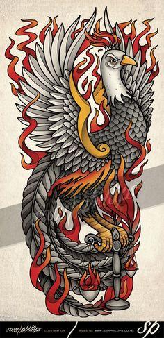 Pheonix Libra Scales Tattoo by Sam-Phillips-NZ