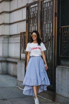 Coastal tee + blue ruffle skirt Coastal tee blue ruffle skirt Source by smaracuja Trendy Fall Outfits, Spring Outfits, Cute Casual Outfits, Modest Fashion, Fashion Dresses, Apostolic Fashion, Apostolic Style, Modest Clothing, Women's Clothing
