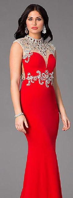 Elegant Chiffon Red Mermaid Jewel Natural Evening Dresses In Stock lkxdresses33210xdf #longdress #promdress
