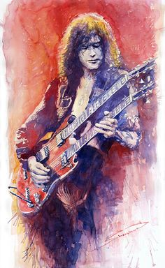 Watercolor Painting - Jimmi Page by Yuriy Shevchuk