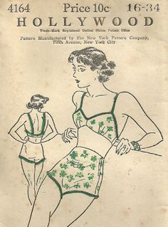 Hollywood 4164 Vintge 1930s Sewing Pattern Bra Bandeau Panties Bathing Suit Swimsuit Lingerie Size 16 Bust 34