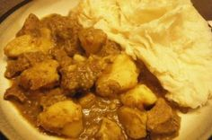 curry beef with potato and roti  I use chicken and brown my curry but still one of my favorites
