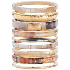 Ashley Pittman Nene Set of 9 Bangles (€465) ❤ liked on Polyvore featuring jewelry, bracelets, accessories, brown, bronze jewelry, hinged bangle, ashley pittman jewelry, hinged bracelet and hammered jewelry