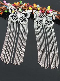 #SheInside Silver Hollow Out Butterfly Tassel Dangle Earrings - Sheinside.com