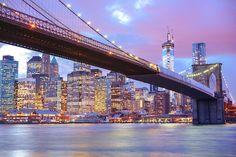 The Brooklyn Bridge and New York City Skyline