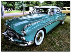 1949 Buick Roadmaster Riviera Blue and White Coupe.