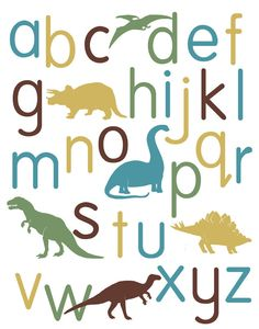 Dinosaur Alphabet Poster, nursery art, childrens art | Alley Kids