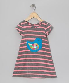Take a look at this Pink & Gray Stripe Chick Dress - Infant, Toddler & Girls by mini scraps on #zulily today!