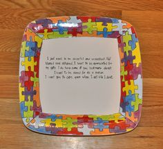 Autism Plate with poem.  Donated to an Autism fundraiser.