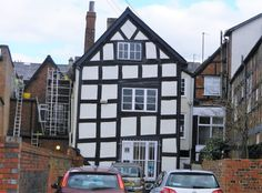Crooked half-timbered house