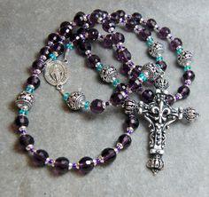 Purple Rosary Amethyst Crystal, Apatite, Bali Beads  Trinity Cross,  Silver by HeartFeltRosaries.com HeartFelt Rosaries by HeartFeltRosaries on Etsy