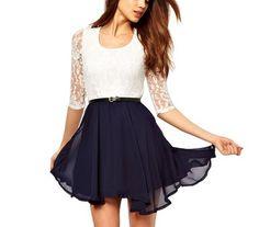 Little Hand Womens Prom Casual Mini Short Chiffon Stripe Stitching Lace Dress