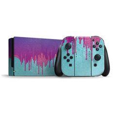 Neon Paint Splatter Blue & Purple Nintendo Switch Skin Custom Case - Buy here!