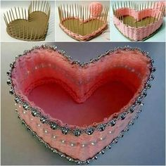 creative idea to weave a heart shaped basket with yarn and toothpicks