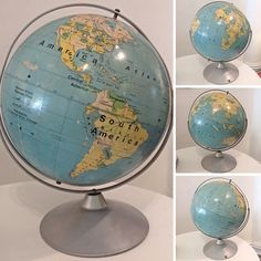 Vintage Large Mid Century Modern World Globe - Info & Pricing @Link Below.  | Rocket Century  - St. Louis, MO