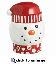 Snowman Head Ceramic Cookie Jar 11 inches tall