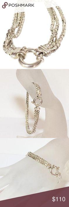 Milor Italy heavy sterling silver bracelet Oversized lobster clasp multi strand silver bracelet by Milor Italy. 925 sterling silver Milor Jewelry Bracelets