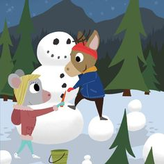 Mouse and Deer - Snowman, A winter Love story of a mouse and deer