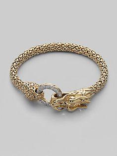John Hardy Diamond & 18K Gold Dragon Bracelet