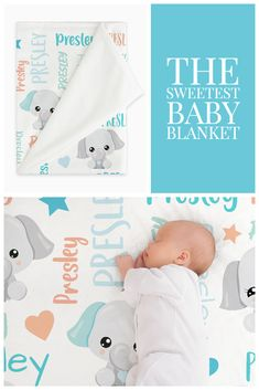 This personalized elephant baby blanket is buttery soft and makes the perfect baby gift for the new mom to be. Our adorable personalized baby blankets make wonderful baby shower gifts, and we think any new mom would adore one! Simply select your size and favorite fabric - lightweight, smooth fleece blanket, silky-soft Minky blanket, cozy-warm sherpa blanket or our swaddle blanket perfect for wrapping newborn babies. ETSY SHOP: AveryJamesStudioShop Newborn Babies, Newborn Baby Gifts, Baby Girl Gifts, Elephant Baby Blanket, Swaddle Blanket, Kids Blankets, Baby Girl Blankets, Personalized Baby Blankets, Personalized Baby Gifts
