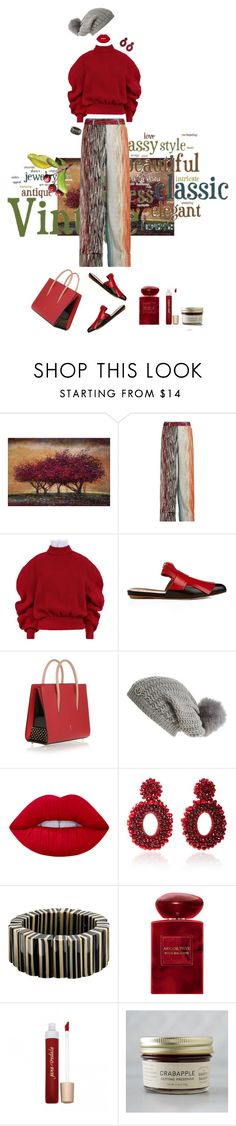 """Crabapple Season...come make some jelly with me!!!"" by kjlnelson ❤ liked on Polyvore featuring Marmont Hill, 1928, Missoni, A.W.A.K.E., Marni, Christian Louboutin, Moncler, Lime Crime, Bibi Marini and One Button"