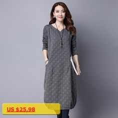 Ladies Autumn Vestidos 2017 New Winter Clothes Women Long Sleeve Cotton Dresses with Pockets Female Midi Casual Clothing