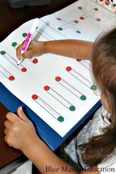 Simple preschool handwriting and drawing worksheets.