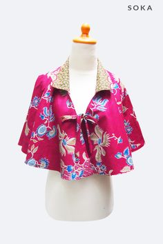 Neon Pink Batik Cape Two Sides by Soka