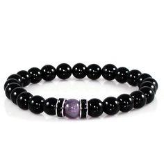 Amethyst and Black Obsidian Yoga Bracelet