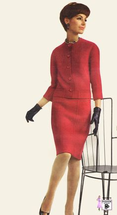 Red Dress 1966 boxy cut knit wool suit red raspberry jacket skirt vintage fashion mid 60s mcm mid century modern model gloves shoes button front