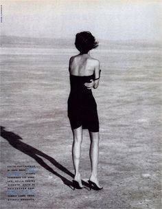 Helena Christensen by Peter Lindbergh, Vogue Italia, March 1990