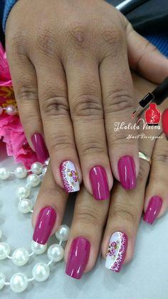 39 fotos de unhas decoradas com flores unhas rosa decoradas, unhas decoradas filha unica, Elegant Nails, Stylish Nails, Trendy Nails, Pink Nail Art, Pink Nails, Pretty Nail Art, Flower Nails, Creative Nails, Bridal Nail Art