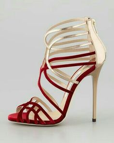 Red and golden strapy heel...