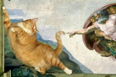 Pictured: World's greatest paintings given CAT makeover by talented Russian artist This cracks me up. World's greatest paintings given CAT makeover by talented Russian artist I Love Cats, Crazy Cats, Cool Cats, Fat Cats, Cats And Kittens, Cats Bus, Great Paintings, Funny Art, Cat Memes