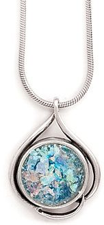 Ancient Roman Glass Necklace 925 Sterling Silver