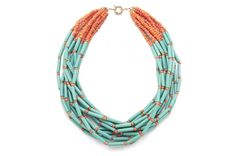 Samba Acrylic Bead Necklac - Turquoise & Tangerine this company has some really cute jewelry!!