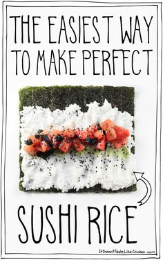 Making sushi at home is quick and easy when you have this technique for making perfect sushi rice, every time! #itdoesnttastelikechicken http://hubz.info/84/just-watching-her-video-and-this-made-me-hungry