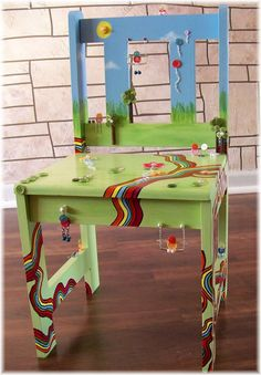 ButtonShop.ca - Childrens Painted Chair Custom BUTTON FRIENDS Personalized Furniture. $165.00