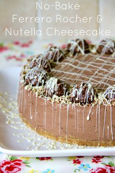 NO-BAKE FERRERO ROCHER & NUTELLA CHEESECAKE - Delicious combination of two of the worlds favourite treats in a yummy delicious No-Bake Chocolatey Hazelnut Cheesecake! Heaven!