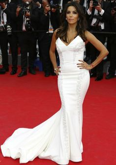 Eva Longoria at the Premiere of Saint Laurent in a custom white Gabriela Cadena gown #Cannes