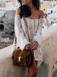 White Lace Embroidery Off Shoulder Shift Dress